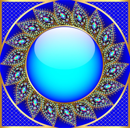 star shaped: background illustration round frame with the ornament of precious stones Illustration