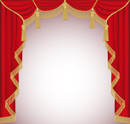 illustration background with red velvet curtain with tassels