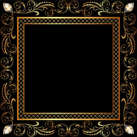 illustration background frame ornaments and precious stones Vector