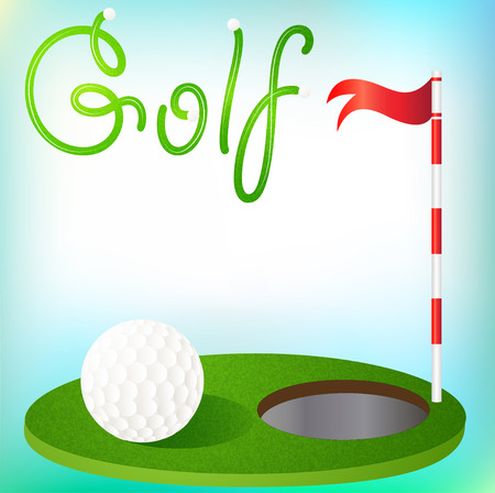 illustration background golfing ball in the grass and the flag Vector