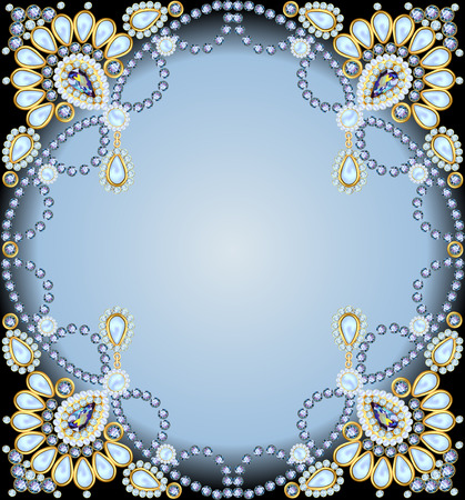 ornament  jewellery: background  frame with ornaments made of precious stones and pearls