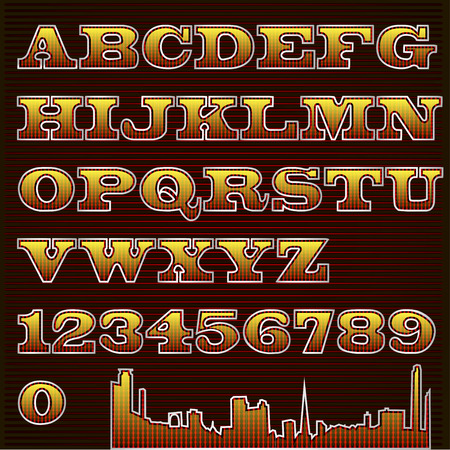 illustration text font checkered with urban silhouette
