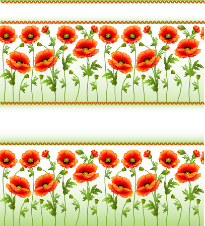 illustration background with poppy flowers and place for text