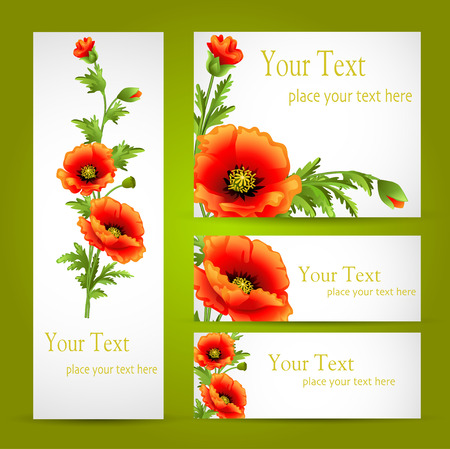 illustration a set of cards with poppy flowers Vector
