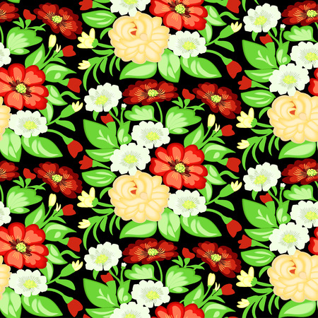 background with a pattern of flowers on a dark field Vector