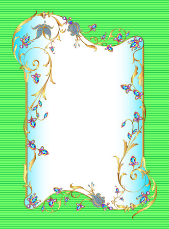 fashion jewelry: illustration bright green background floral frame with gems
