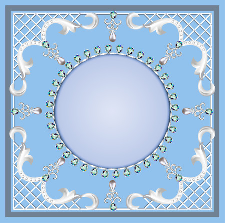 string of pearls: illustration background with ornament with pearls and precious stones