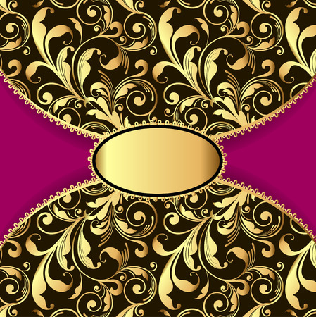 laced: illustration background with a pattern of gold and laced border