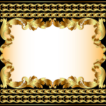 golden border: Illustration vintage background with gold pattern and border