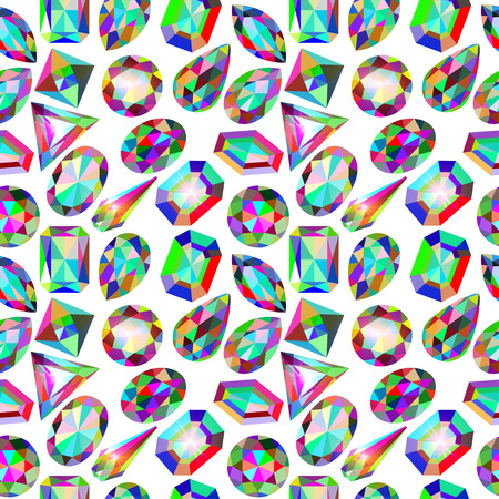 placer: illustration background seamless placer precious stones on white
