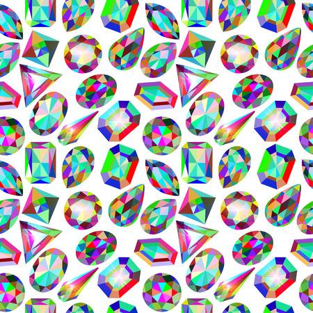 illustration background seamless placer precious stones on white