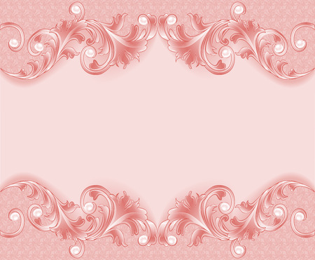 elegant wallpaper: Illustration of a pink background with ornament and pearls