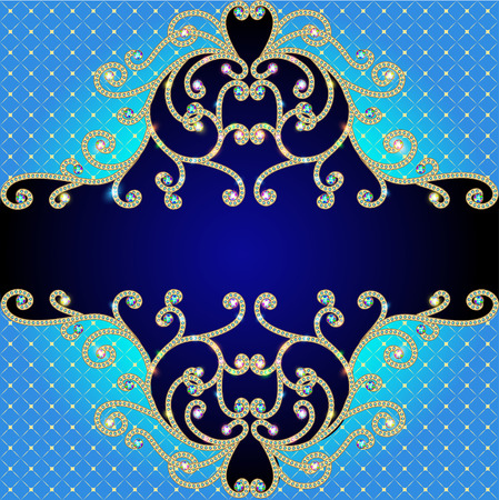 illustration background with gold ornaments of precious stones and mesh Vector