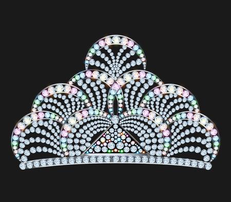 illustration diadem feminine with brilliant gems on black Vector