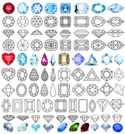 coeur en diamant: illustration coupé pierres précieuses ensemble de formes