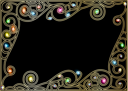 horizontal illustration background frame with gold ornaments of precious stones Vector