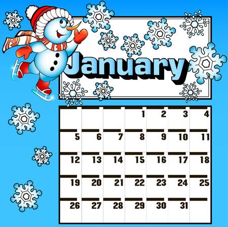 calendario diciembre: calendario ilustración para enero patines muñeco de nieve y copos de nieve Vectores