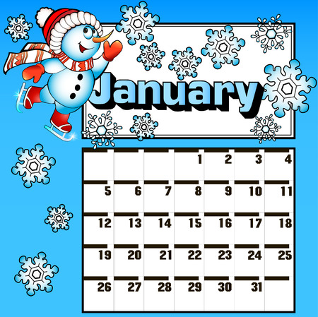 december background: illustration calendar for January snowman skates and snowflakes