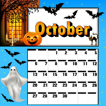 candle holder: illustration calendar for October, bats and pumpkin candle holder ghost Illustration