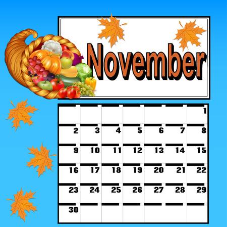calendario noviembre: calendario ilustración para noviembre, con acción de gracias y la cornucopia Vectores
