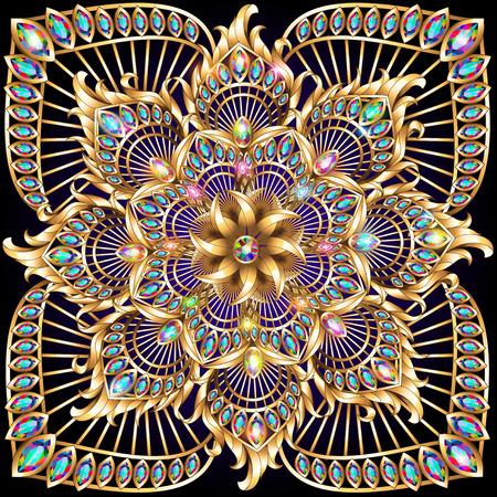 pluma de pavo real: ilustraci�n de fondo de oro con un adorno circular y piedras preciosas