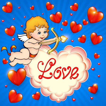 angeles bebe: ilustración tarjeta de San Valentín con el cupid y los corazones