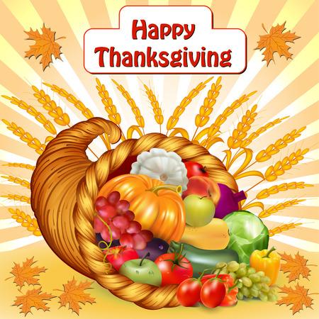 cuerno de la abundancia: tarjeta de ilustración para la acción de gracias con una cornucopia de frutas y verduras
