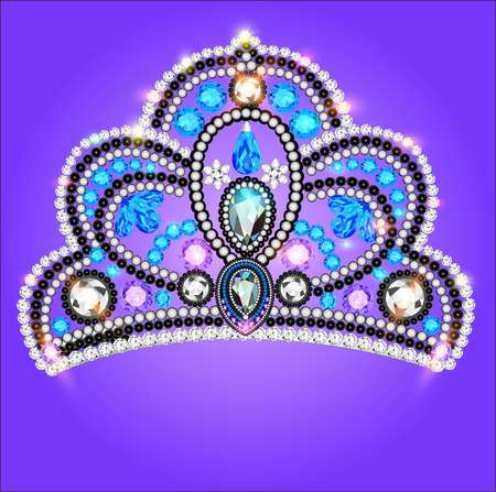 nuptial: illustration tiara crown womens wedding with a blue stone
