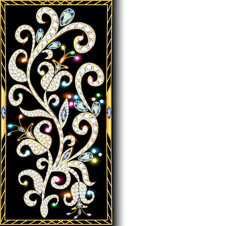 ornament  jewellery: illustration background with ornaments of gold and precious stones with space for text