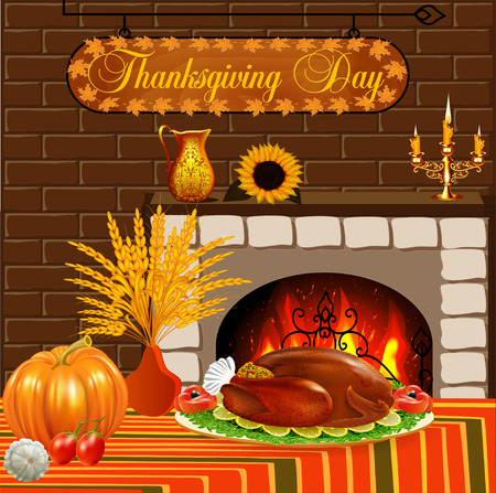 thanksgiving meal: illustration card for Thanksgiving with turkey and vegetables fireplace Illustration