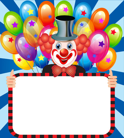 illustration merry clown with balloons holding a poster