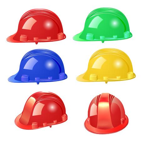 hard cap: illustration set of building helmet on a white background