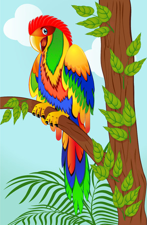 green parrot: illustration of colorful parrot on tree branch Illustration