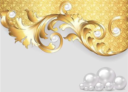 pearl jewelry: horizontal illustration background with gold ornaments and pearls