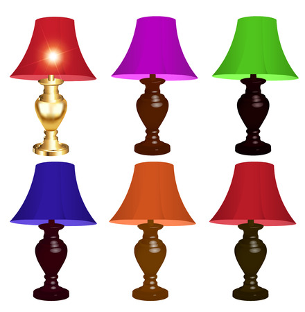 lamp shade: illustration set of colored table lamps on a white background Illustration
