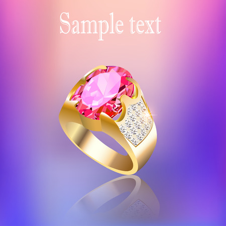 gold ring: illustration background with gold ring gem and reflection Illustration
