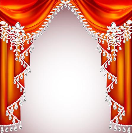 pietre preziose: Sfondo Illustrazione con le tende rosse con pietre preziose per gli inviti Vettoriali