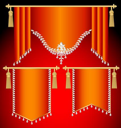 флагшток: Иллюстрация набор красные шторы с драгоценными камнями и золотыми кистями Иллюстрация