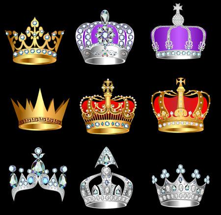 corona reina: conjunto de ilustración de coronas con piedras preciosas sobre un fondo negro Vectores