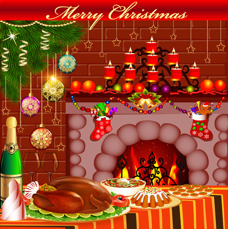 fireplace christmas: illustration Christmas card with fireplace chicken and pudding Illustration