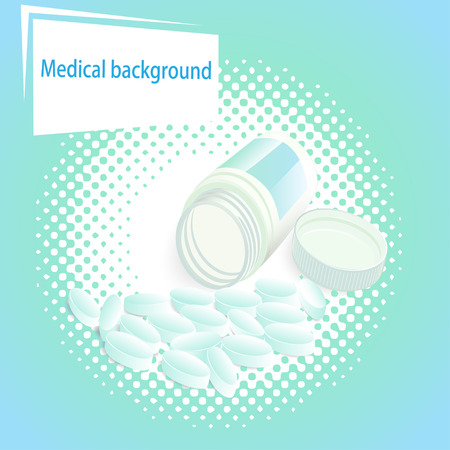 painkiller: Medical illustration background with pills and a jar with a lid Illustration