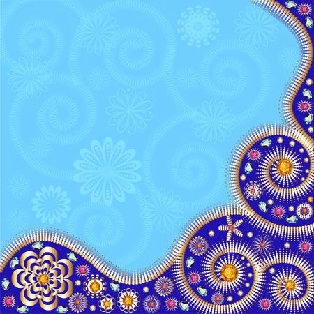 piedras preciosas: Fondo de la tarjeta ilustraci�n con adornos de oro y piedras preciosas Vectores
