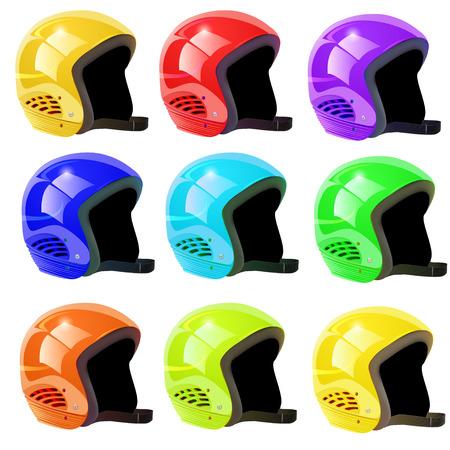 luge: illustration set of helmets luge on a white background
