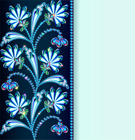 bead jewelry: Illustration vintage background with flowers made of precious stones and strip for text