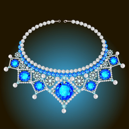 precious stone: illustration of womans necklace with pearls and precious stones Illustration