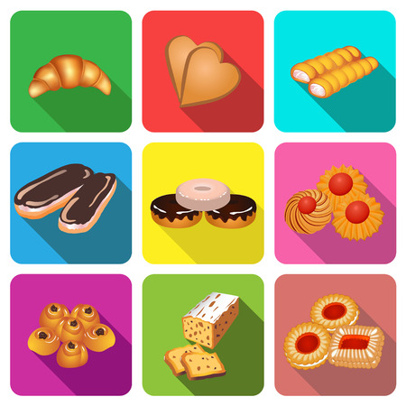 illustration set of icons on a theme cake baking cookies Vector