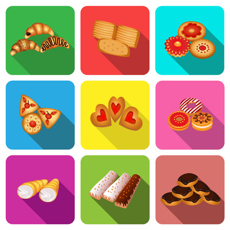 illustration set of icons on a theme cookie cake Vector