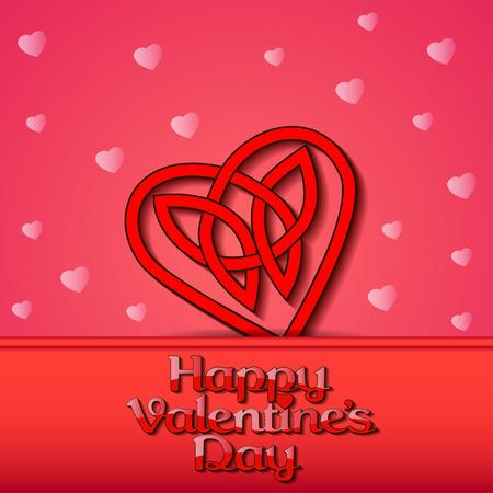 celtic background: illustration festive background with hearts of Celtic weave on Valentines Day Illustration