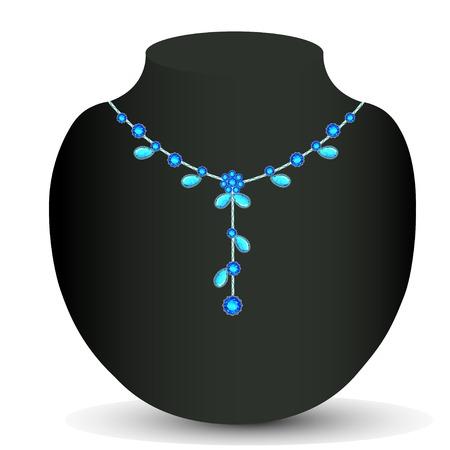 piedras preciosas: ilustraci�n de collar de piedras preciosas de la mujer Vectores
