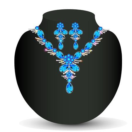 precious stones: illustration of womans necklace with precious stones